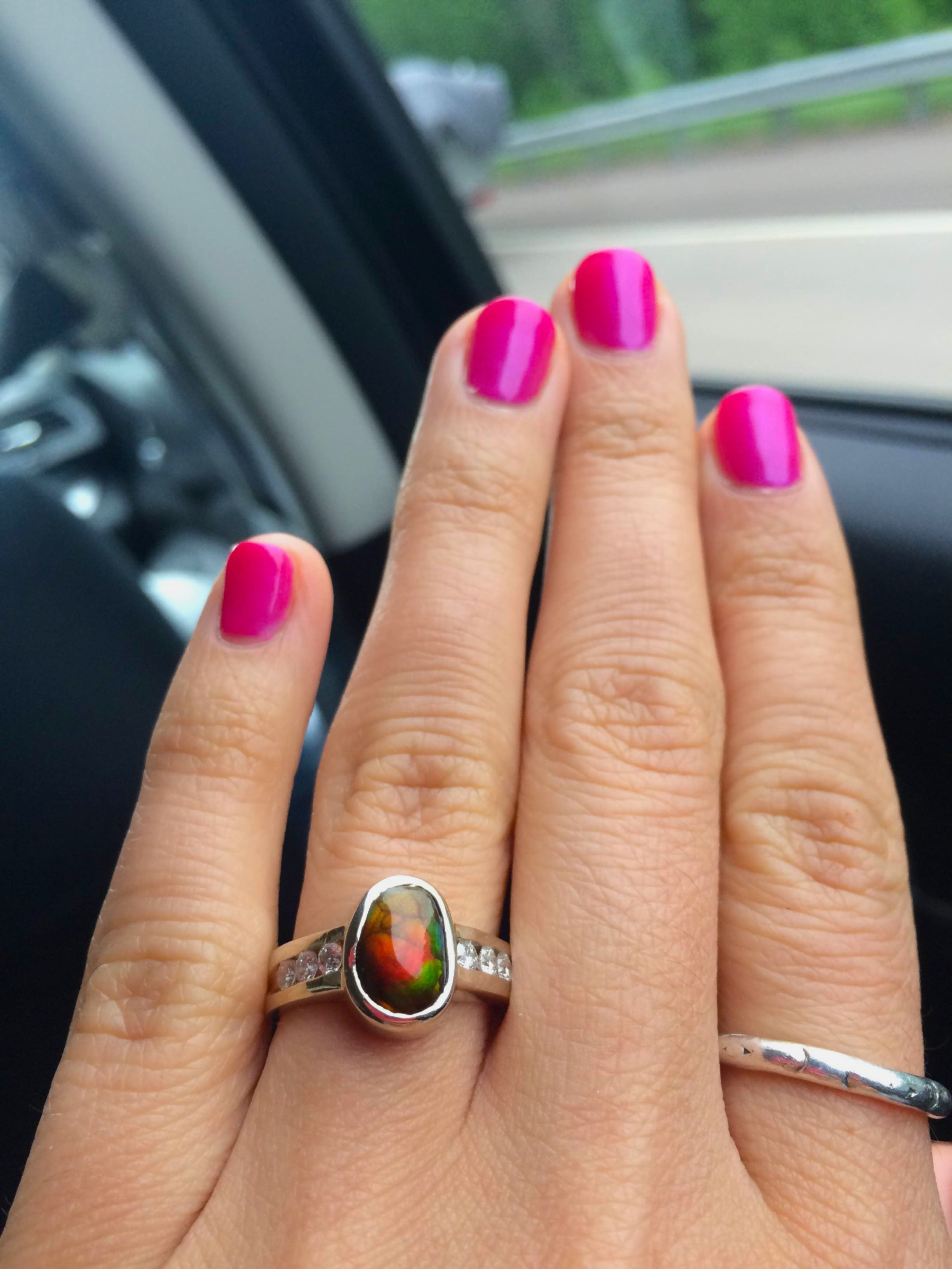 hand gold fire agate wedding rings wrought made by black blackmountainjewelryco