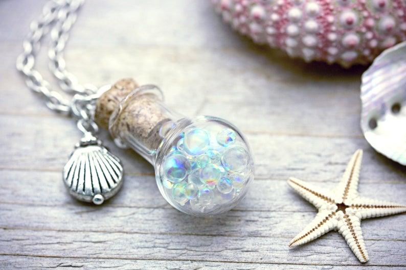 Fairy Necklace Pixie Dust Charm Amulet Frozen Rainbow