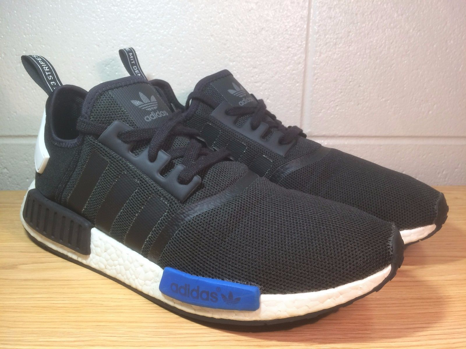 Adidas NMD R1 Mesh Mens Running Shoes Size 13.5 US Black/Blue Ultra Boost