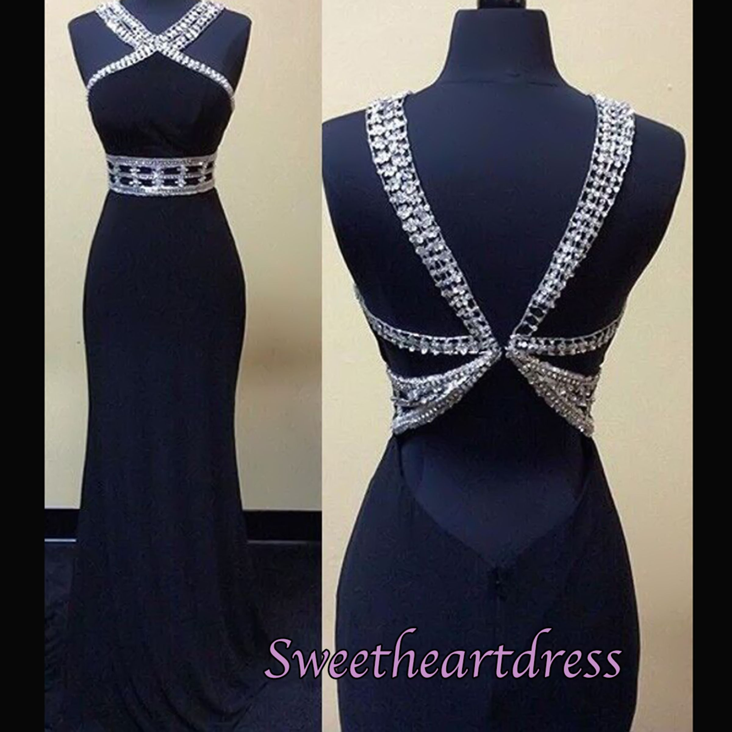 Unique design elegant open back black chiffon sequins prom dress