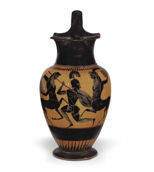 Attic Black-Figure Trefoil Oinochoe Depicting a Centauromachy ...