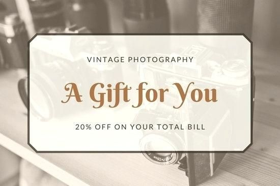 tattoo gift card template brown vintage photography certificate for resignation letter singapore