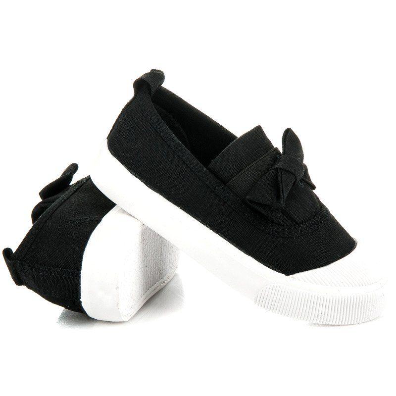 Buty Sportowe Dzieciece Dla Dzieci L H Czarne Wsuwane Trampki Z Kokardka L H Shoes Baby Shoes Fashion
