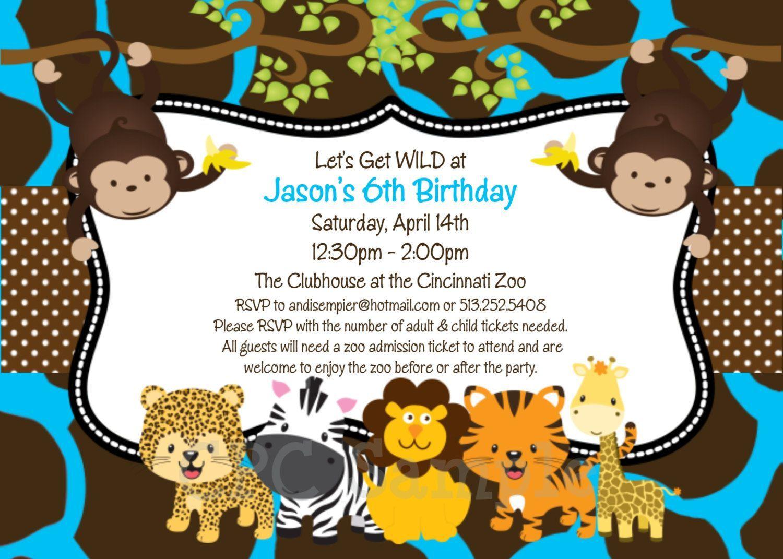 Jungle 1st Birthday Invitation Wording