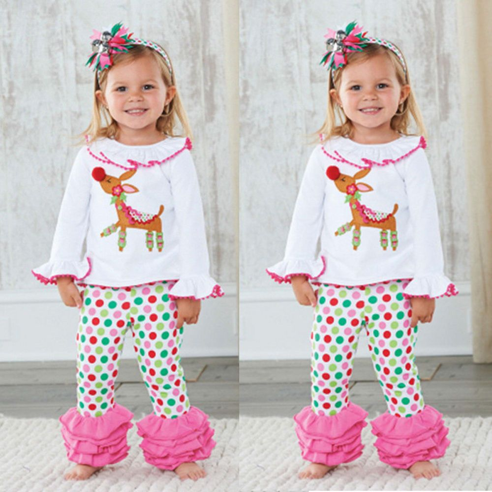 683c55056 Baby Girls Christmas Reindeer Costume Hoodie Tops Ruffles Pants Outfits  Clothes #fashion #clothing #shoes #accessories #babytoddlerclothing ...