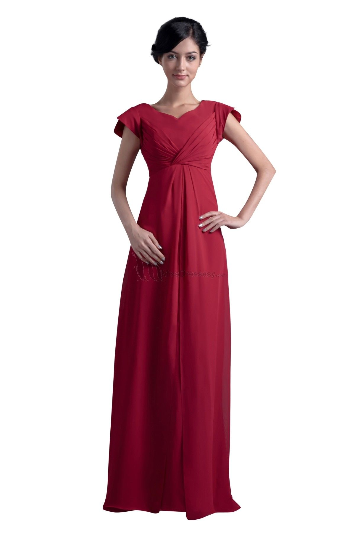 Buy high quality plus size simple red cheap chiffon bridesmaid dress