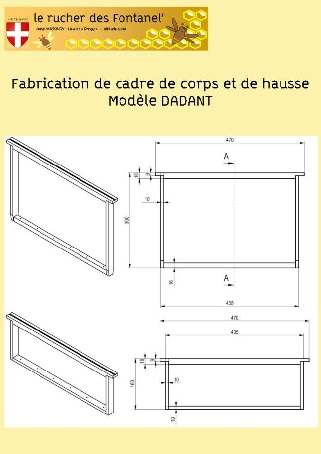 Ruche fabrication de cadre dadant ruche pinterest - Dimensions cadres photos ...