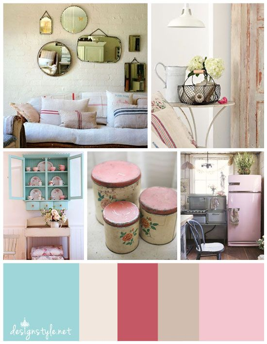 Vintage Color Palette, Rustic Farmhouse With Accents Of Blue, Rosy Red,  Beige And