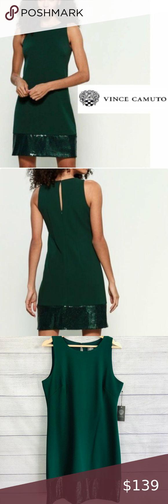 Vince Camuto Hunter Green Sequin Sleeveless Dress Green Sequins Sleeveless Dress Clothes Design [ 1740 x 580 Pixel ]