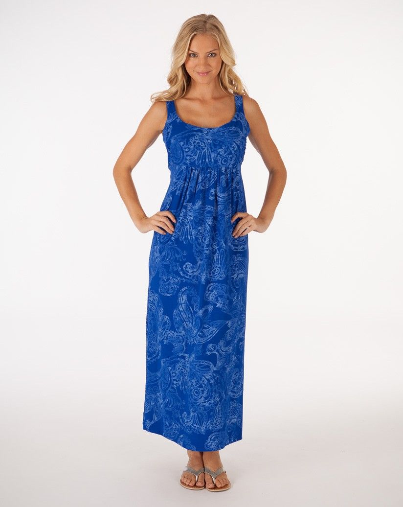 A blue you won't be blue wearing...Maxi Dress in Mystic from Fresh Produce. $89, made in USA.