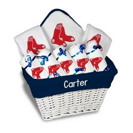 Boston red sox large basket a 9 items boston red sox at designs by our personalized boston red sox large gift basket is a perfect baseball baby gift with 2 burp cloths and a bib personalized with the yankees logo negle Images