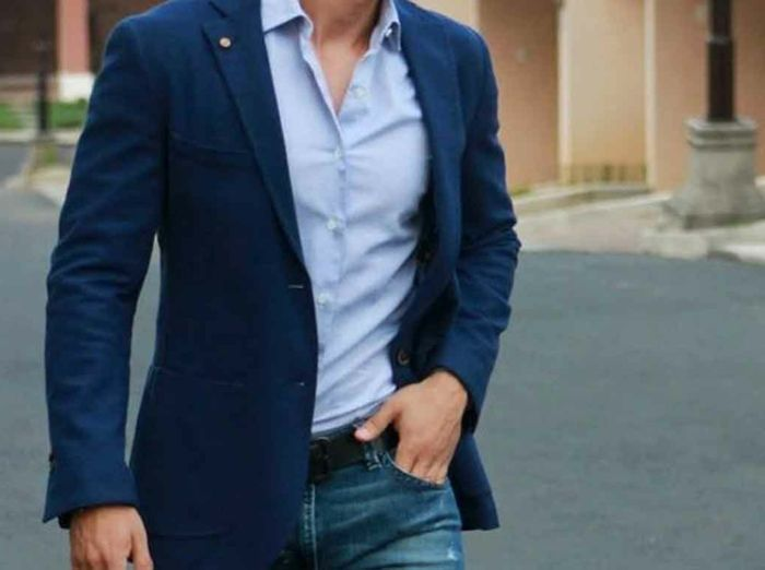 Giacca uomo casual blu