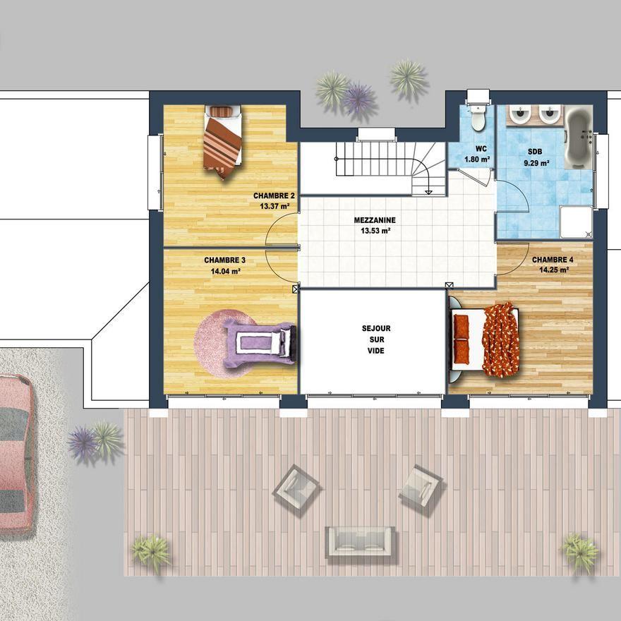Maison à lu0027architecture moderne, au toit plat, ultra lumineuse grâce - construire sa maison 3d