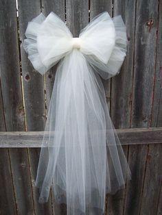 organza bow winter wedding pew end - Google Search