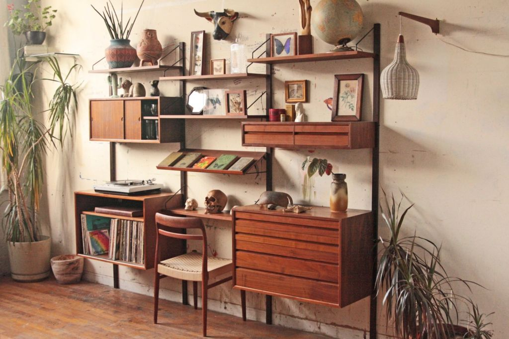 Image Result For Leaning Desk Mid Century Modern Mid Century Modern Shelves Mid Century Modern Furniture Mid Century Wall Unit