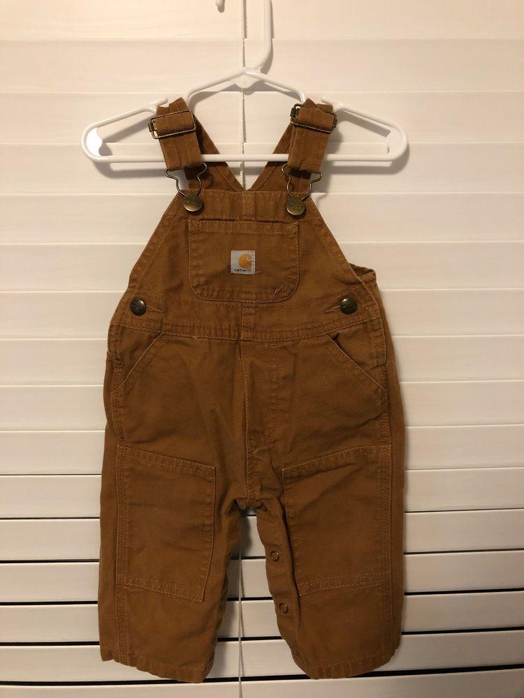 475b6b2d98952 Carhartt Toddler Childs Brown Canvas Bibs Overalls Size 6 Months  Carhartt