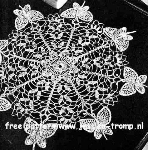 Butterfly Doily Free Vintage Crochet Doilies Patterns Hklede Duge