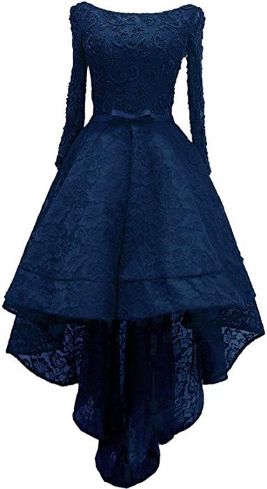 0cf9d43b92 Amazon.com  Rongstore Women s High Low Lace Prom Party Dresses with Long  Sleeve Royal Blue US0  Clothing