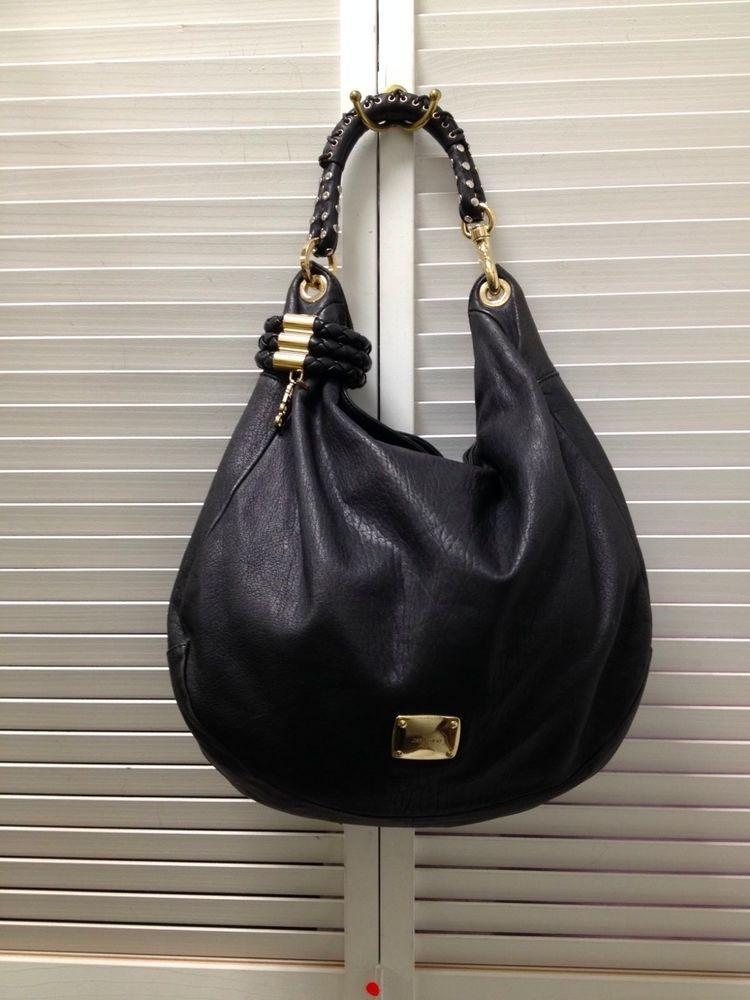 e9f1ef827c JIMMY CHOO Sky Bracelet Black Leather Large Handbag Hobo Bag $1,500 # JimmyChoo #Hobo