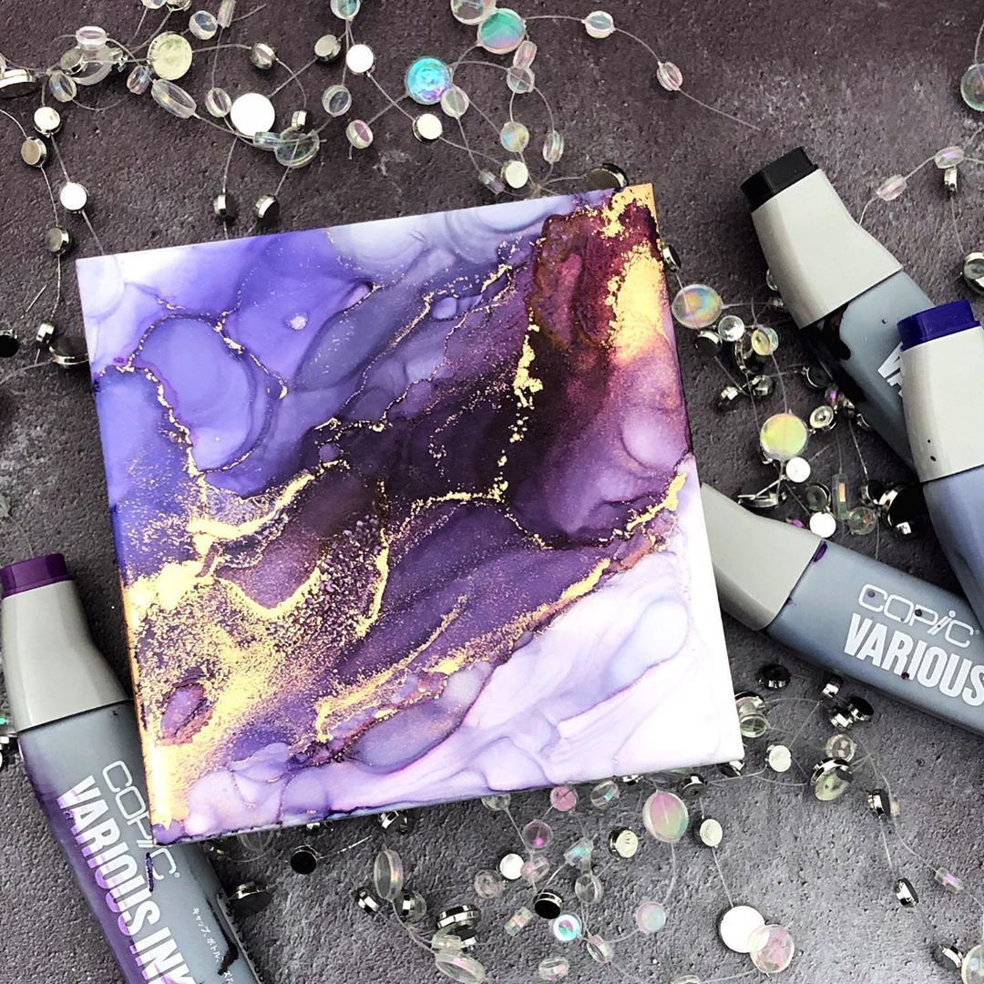 """Jessica Frost-Ballas on Instagram: """"Another alcohol ink coaster (this one is definitely inspired by a purple-loving friend, @flutterbunny007)! � I just love that gorgeous…"""""""