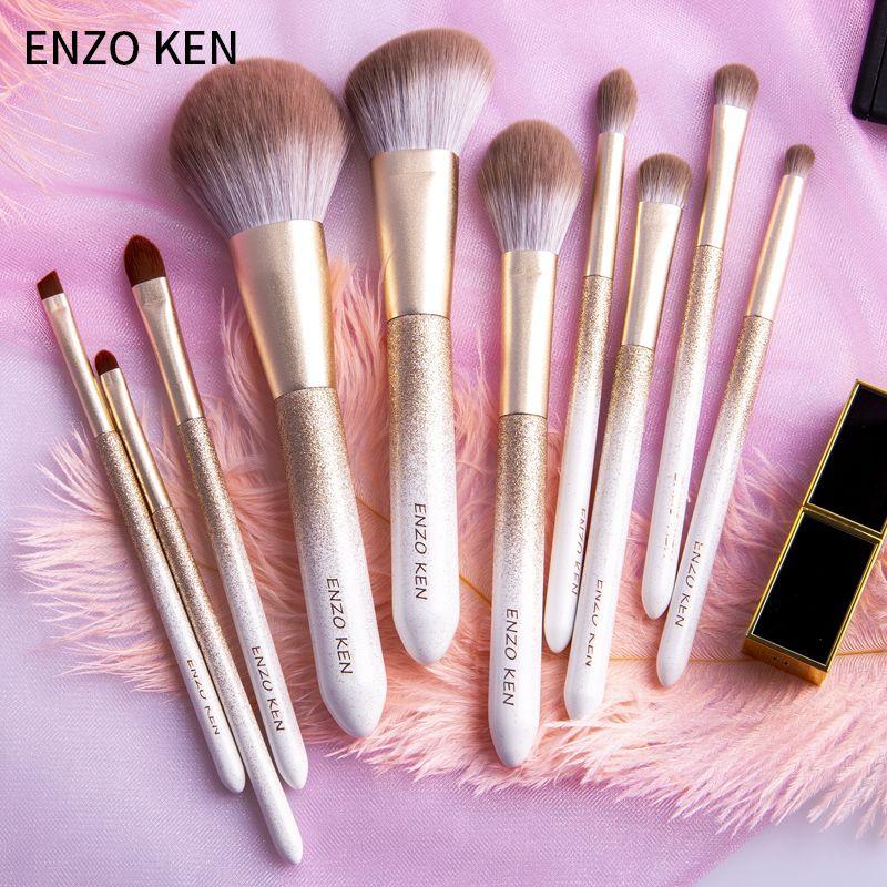 ENZO KEN 10 pcs Makeup Brushes Set Powder Foundation