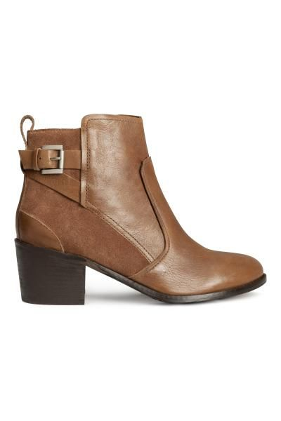 bottines cuir h et m marron