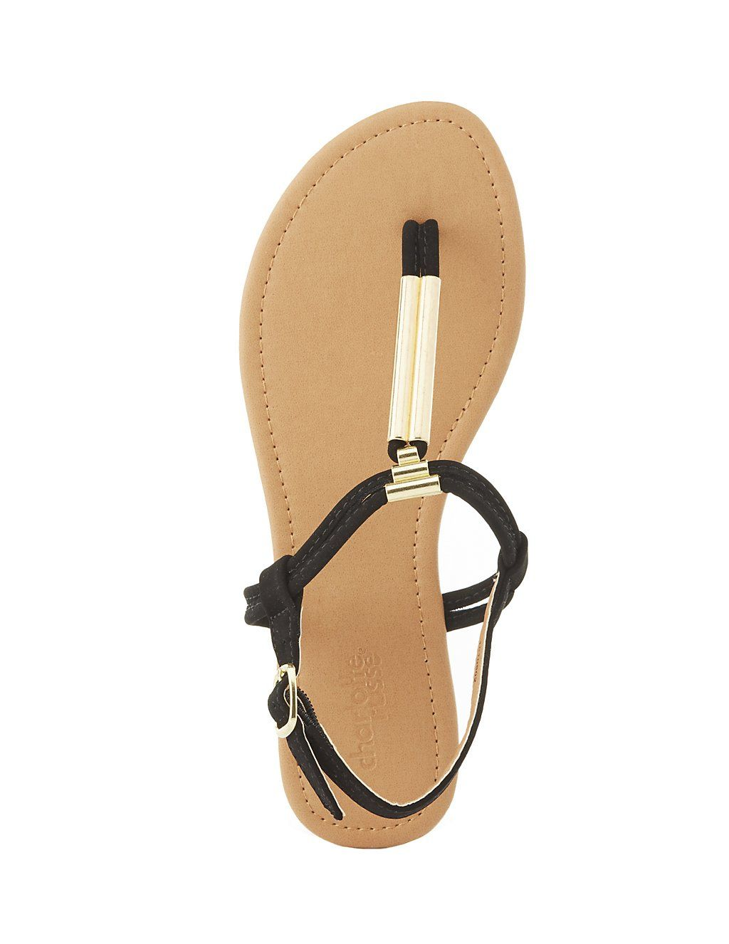 Gold-Tipped T-Strap Sandals | Charlotte Russe
