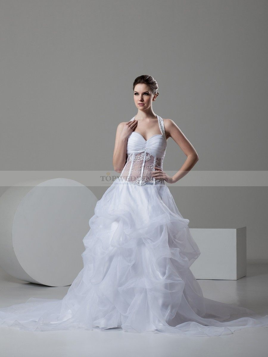 Sheer top wedding dress  Organza White Ball Gown Sweetheart Train Wedding Dress With