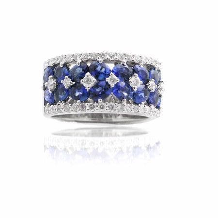 Diamond and Blue Sapphire 18k White Gold Wedding Band Ring