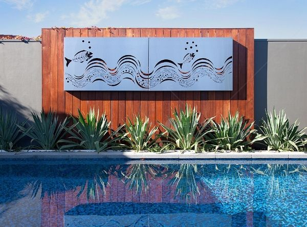 Outdoor ocean metal wall art fish wave set of 2 panels for Outside wall art