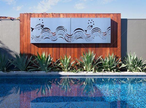 Outdoor ocean metal wall art fish wave set of 2 panels from earth homewares