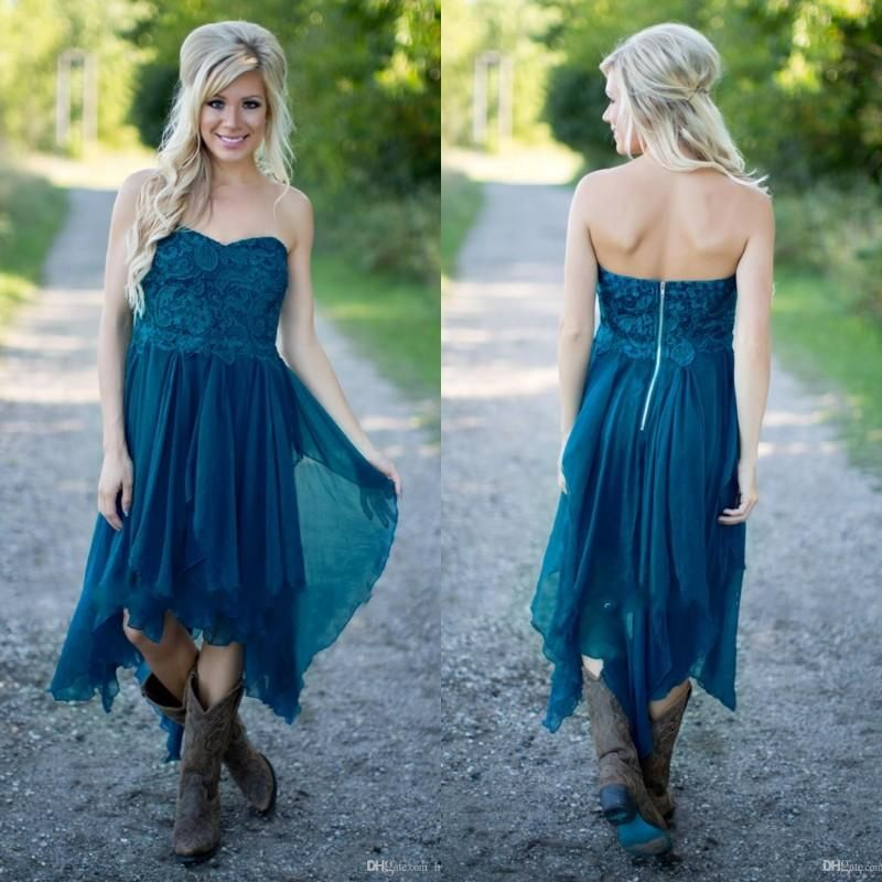 simple country bridesmaid dresses 2017 cheap teal chiffon beach lace high low ruffles party maid honor