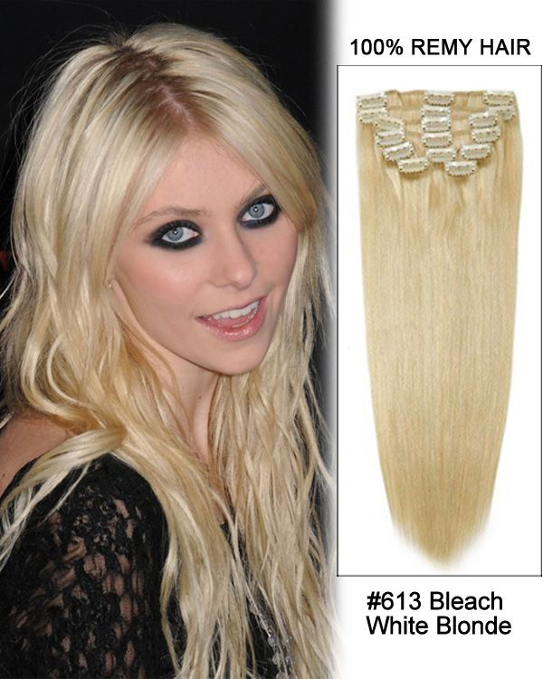 16 Inch 10pcs Straight Indian Clip In Remy Hair Extensions 613