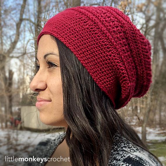 Patrón de ganchillo sombrero de slouch: por LittleMonkeysCrochet ...