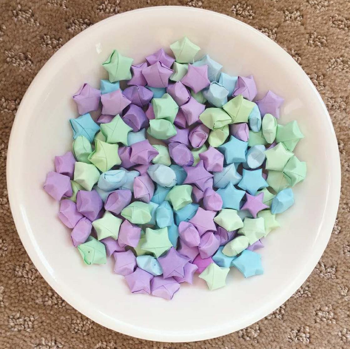 100 Assorted Purple Lucky Origami Wishing Stars