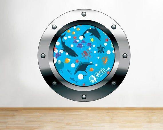 Q618 Fish Kids Bedroom Underwater Window Wall Decal 3D Art Stickers Vinyl Room#art #bedroom #decal #fish #kids #q618 #room #stickers #underwater #vinyl #wall #window