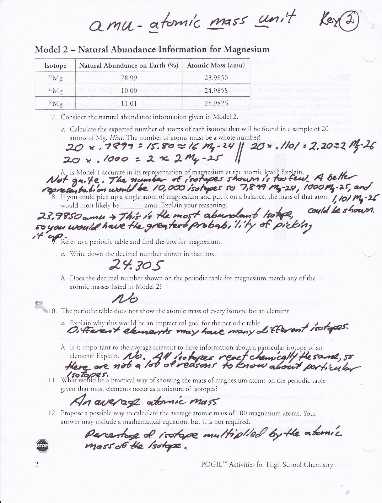Worksheet Average Atomic Mass Worksheet Show All Work Answers