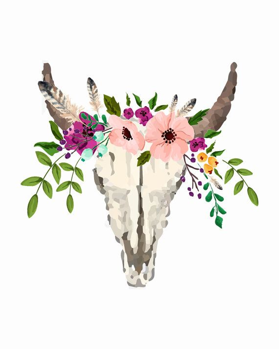Floral Bull Skull 8x10 Art Print THE DETAILS This Measures 10