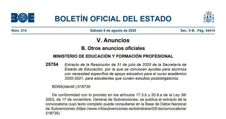 Becas 2020 2021 Para Alumnos Con Necesidad De Apoyo Educativo Ministerio De Educacion Educacion Alumno