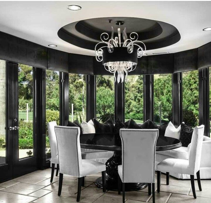 Luxury Black And White Dining Roomorange Coast Interior Design Mesmerizing Black And White Dining Room Design Ideas