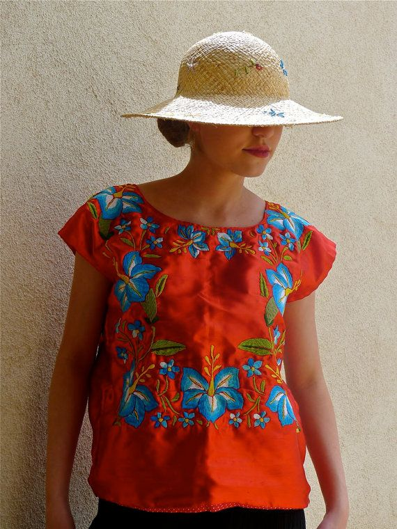 Mexican embroidered vintage Tehuana huipil RED satin blouse - Oaxaca ...