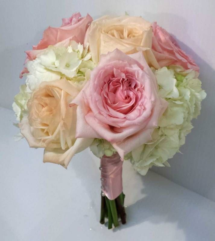 Peach And Pink Rose Hydrangea Bouquet