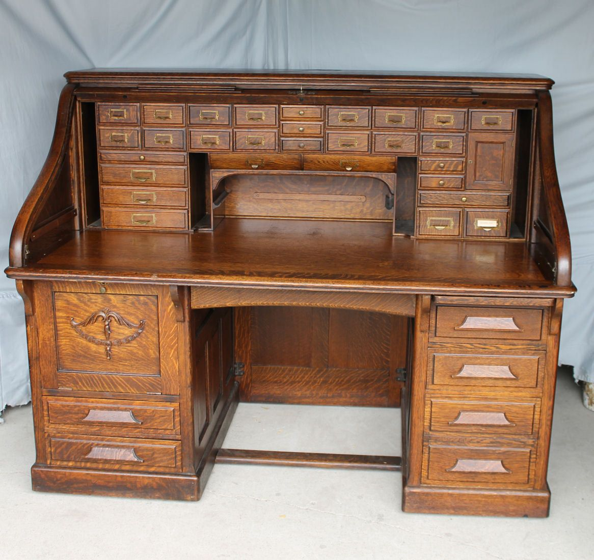 stamped by sold co desk roll desks and top antiques maple large mahogany