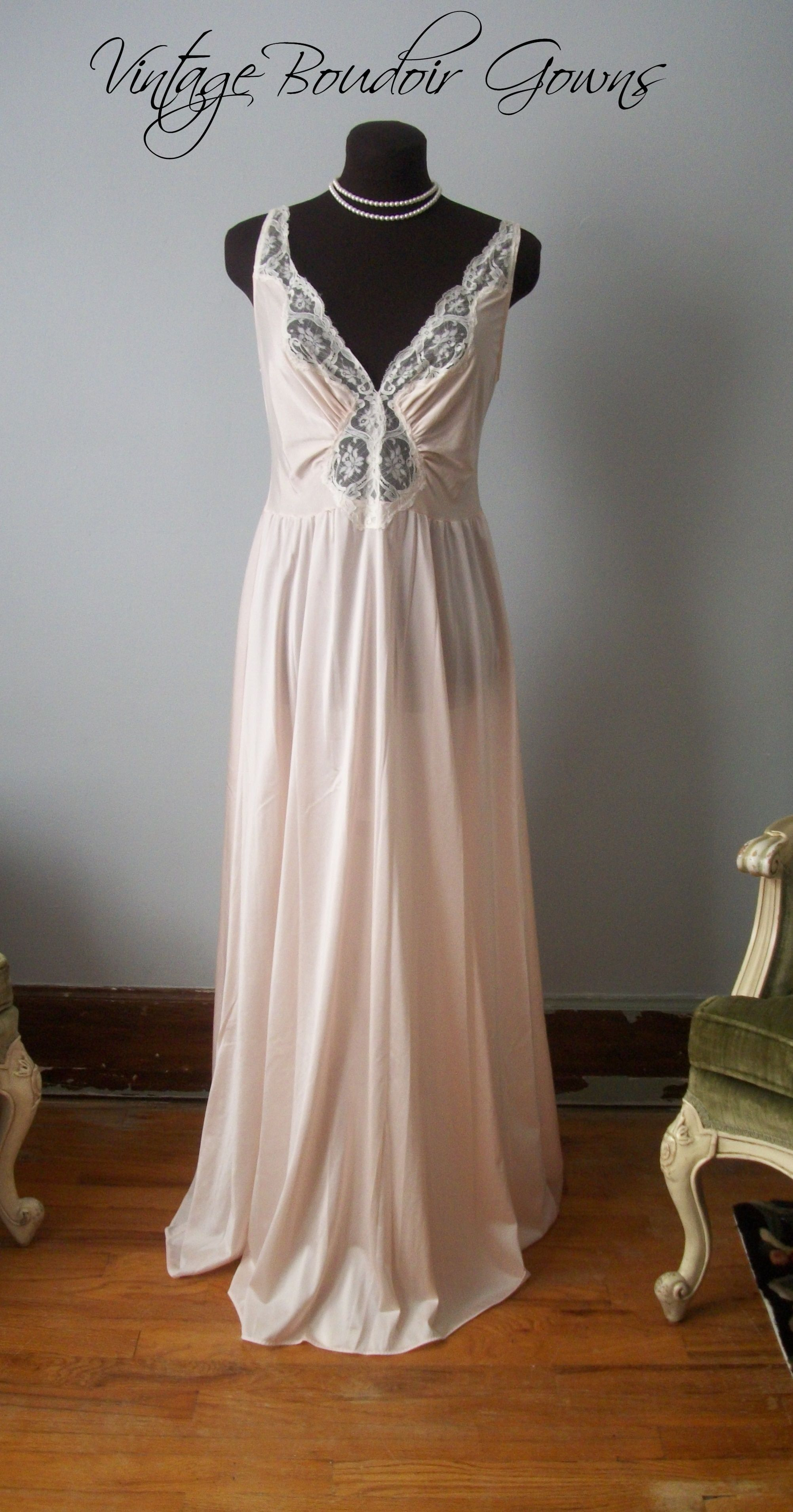 Vintage Pink Olga Nightgown Dress 92087 X~LRG Wedding Gown Boudoir ...
