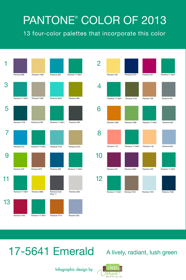 Pantone Color Of The Year Emerald Pallets Using Combos Green