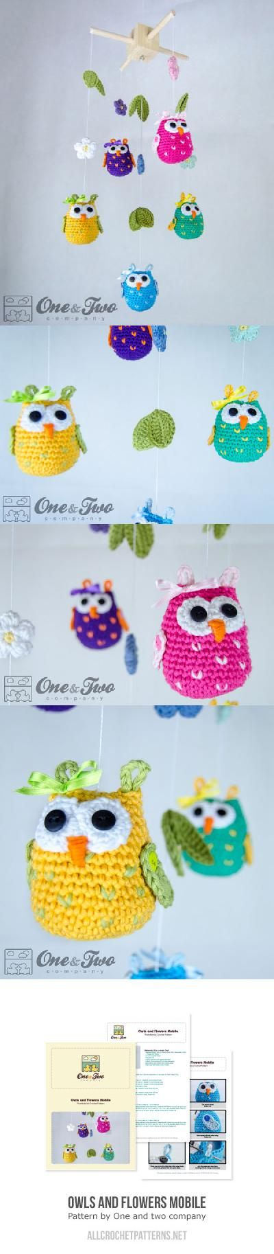 Owls and Flowers Mobile crochet pattern by One and two company | Häkeln