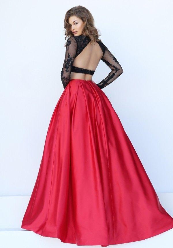Zweifarbiges Langarm Abendkleid Sexy Online bestellen bei ...