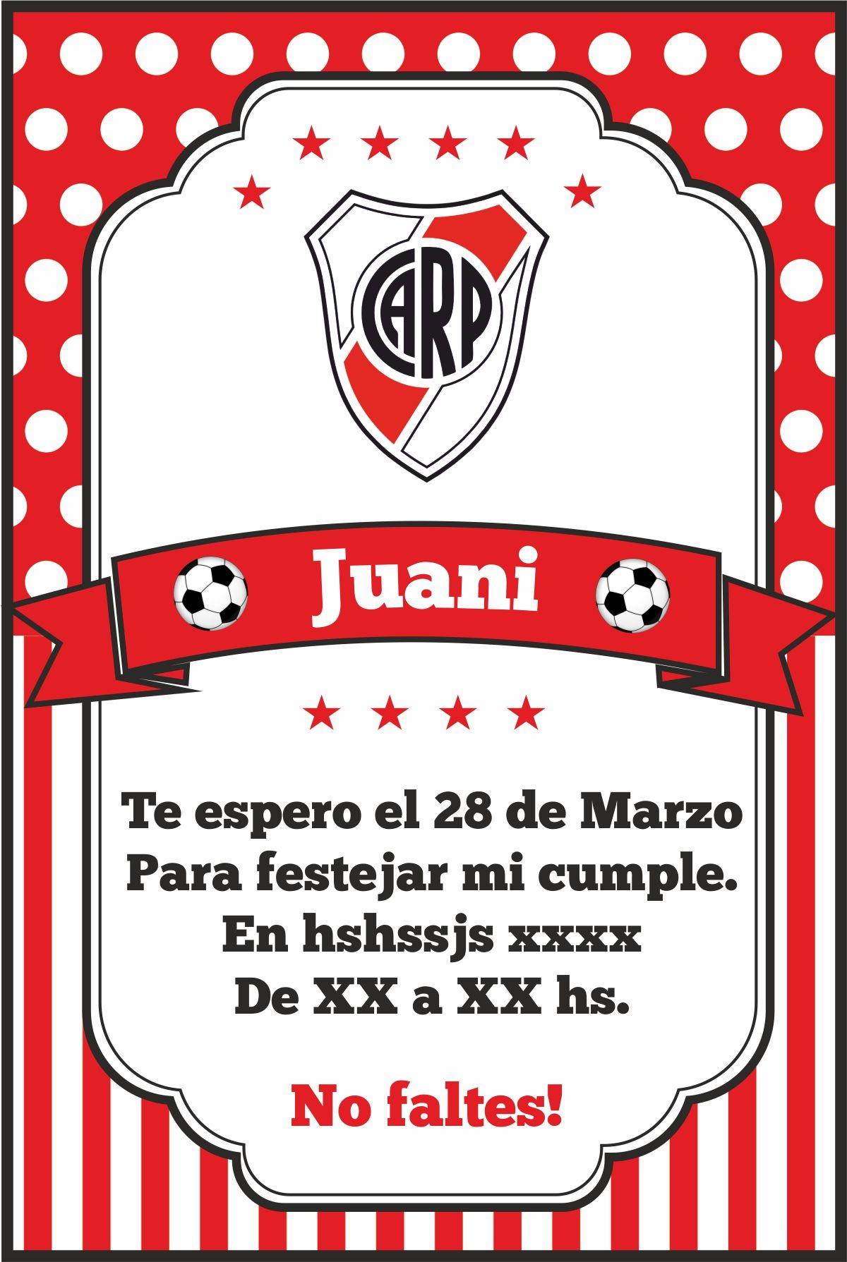 Invitación Fútbol Soccer River Plate Tarjetas De