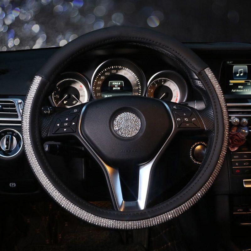 24.91 Diamond Nice Pretty PU Leather Vehicle Steering