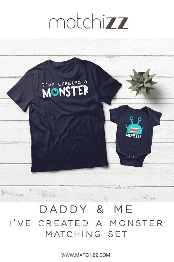 cbfd6b75 Father and Son Matching outfit Baby shower Gift for daddy and me Ive  created a monster #babyshowergift #fatherson #daddyandme #captaindad